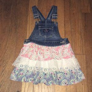 Jordache layered jumper overalls dress, 3t